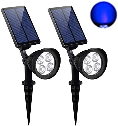 CANAGER Solar Spotlights Outdoor,Waterproof Solar Powered Landscape Lights for Yard,Garden,Driveway-Blue-2Packs