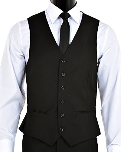 Elegant Men's Black Two Button Three Piece Suit