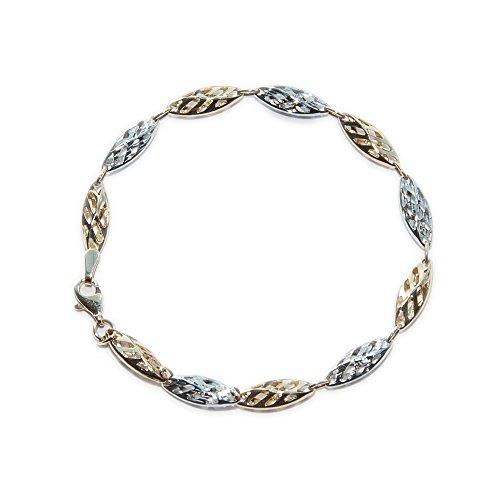 ASS 585or chaîne bracelet bicolore fantaisie 19cm 5mm de largeur 3,15G