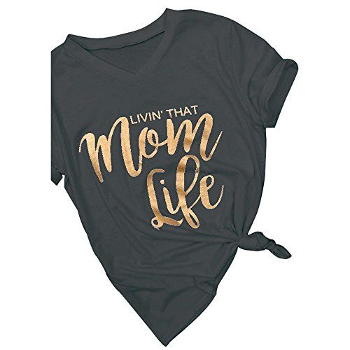 Erxvxp Fashion Women T-Shirt Mom Life Print V-Neck T-Shirt Summer Casual Ladies Tops Mother's Day (Black, Small) (Ladies Show Shirt)