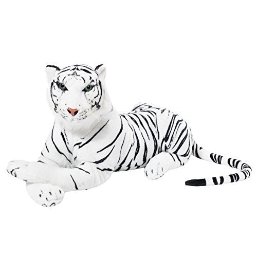 BRUBAKER White Plush Tiger 28 Inch Stuffed Animal -