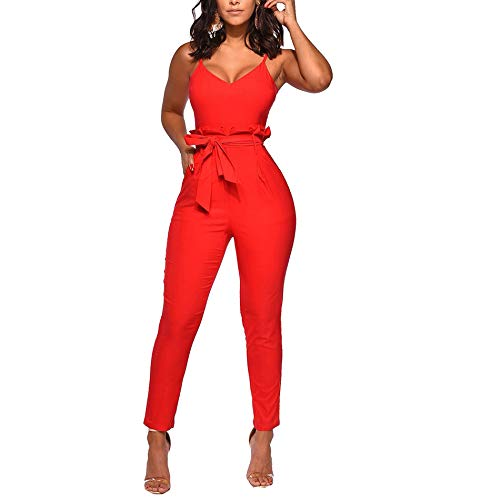 (IyMoo Sexy V Neck Jumpsuits for Women-Spaghetti Strap Solid Bodycon Jumpsuits with Belt Elegant Casual One Piece Outfits Orange Red L)