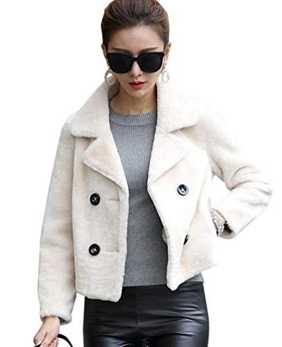 Fourrure Warm Elgante Fourrure Manches Blouson Blanc Outerwear Vtements Longues Manteau paisseur Fourrure Art Hiver Revers Automne Unicolore Courte Fashion Veste Femme en Zq4rxZ