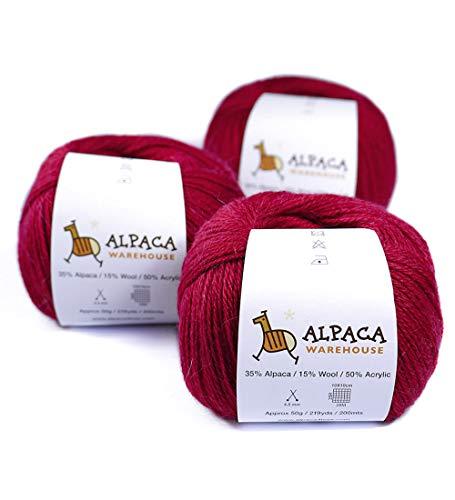 Blend Alpaca Yarn Wool Set of 3 Skeins Fingering Weight (Red)