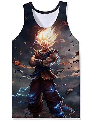 Trendy Sports Gym Trainer Tank Tops Muscle Men Dragon Ball Z Manga Cartoon Otaku Anime Cool Designs Extended Vest Undershirt Fancy Skinny Wife Beater for Party Raves ()
