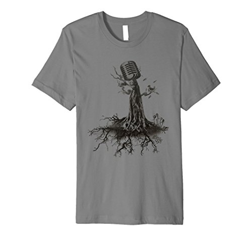 Mens MICROPHONE TREE - roots music singer band sketch T-shirt Large Slate