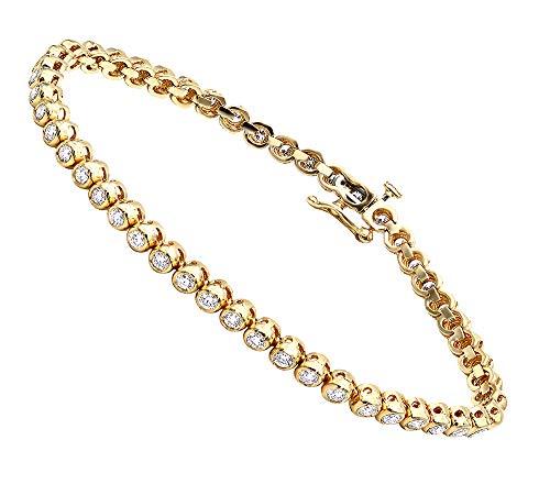 3 Carat Modern Bezel Set Round Cut Diamond Tennis Bracelet in 14K Gold (Yellow ()