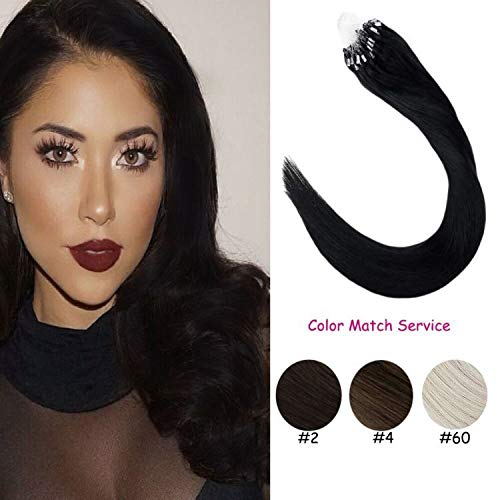 LaaVoo 22inch 100% Human Hair Extensions Micro Link Jet Black Hair Extensions Keratin Beads Micro Loops Straight Human Hair 1g/s 40g+10g for free,50g/pack in Total