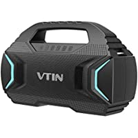 VTIN R7 Waterproof Bluetooth Speakers with Powerful Bass, 50W Wireless Stereo Pairing Speaker with 30H Playtime, 7 Lighting Mode, Support TF Card, Suitable