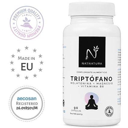 L-Triptófano + magnesio + melatonina + vitamina B6. Suplemento alimenticio a base de
