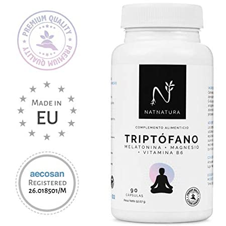 L-Triptófano + magnesio + melatonina + vitamina B6. Suplemento alimenticio a base de Triptófano concentrado (600mg) para regular el sueño, estado de ánimo y ...