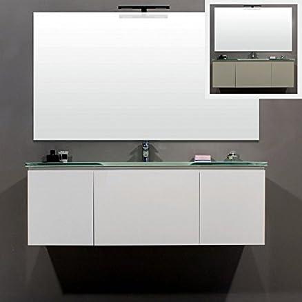 Mobile Arredo Bagno sospeso con lavabo in cristallo bianco grigio ...
