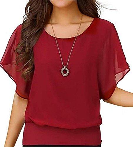Viishow Women's Loose Casual Short Sleeve Chiffon Top T-Shirt Blouse Red 3XL