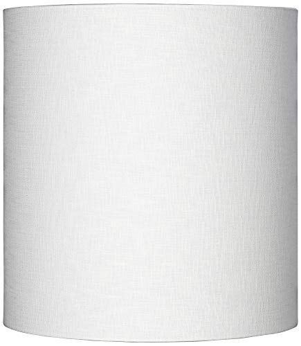White Tall Linen Drum Shade 14x14x15 (Spider) - Brentwood