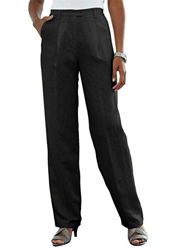 Jessica London Women's Plus Size Petite Classic Linen Blend Pants Black,16 P - Petite Pleats Trousers
