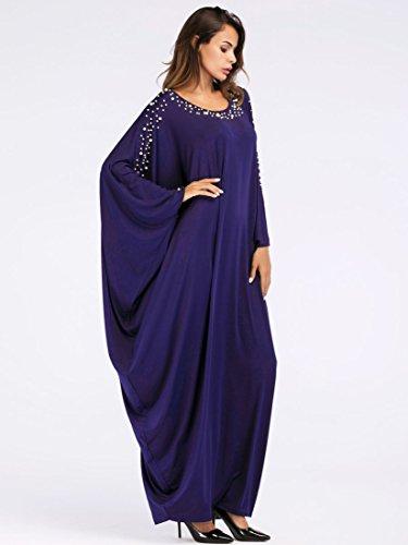 Knöchellang O Wasserfall Kleid Ababalaya Flügelhülse 7026Navy Ansatz Muslimisch Drucken Damen Weich Langarm Lose wzqWRvPzI
