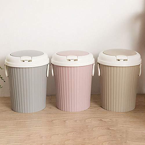 SODIAL Portable Trash Can Clamshell Kitchen Trash Can Living Room Bathroom Trash Pink