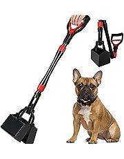 HomeChi Dog Pooper Scooper, 32'' Long Handle Foldable Pet Pooper Scooper Flat Bottom, Medium Large Dog Portable Poop Waste Rake Non-Stick Durable Spring for Grass, Gravel, Yards or Patio Pick Up