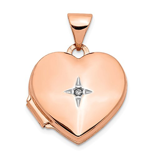 14k Rose Gold 15mm Heart Diamond Photo Pendant Charm Locket Chain Necklace That Holds Pictures Fine Jewelry For Women Gift ()