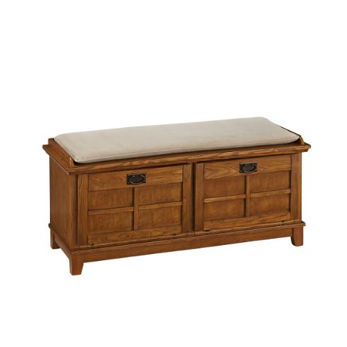 Home Styles 5180-26 Arts and Crafts Upholstered Bench, Cottage Oak - Style Mission Chest Oak Finish