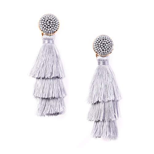 RIVERTREE Womens Layered Tassel Earring Beaded Boho