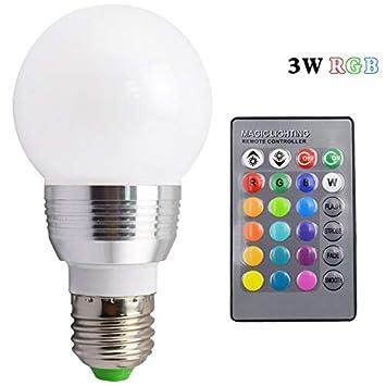 Ruanyi E27 / E14 Bombilla LED Lámpara LED RGB 3W con Control Remoto de 24 Teclas Atenuador Ahorro de energía Foco Iluminación de Vacaciones + Control Remoto ...
