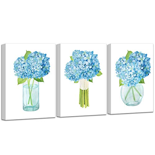 Wall Art for Bedroom Blue Hydrangea Nordic Simple Hand Painted Watercolor Decoration Bathroom Restaurant Style Family Gathers Here and Forever Home Vase Floral Canvas Prints Artwork :12