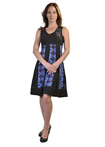 donna da V a a stampa Estate Nero scollo con senza vestito bolle e con maniche Embroidery 0wq8BH