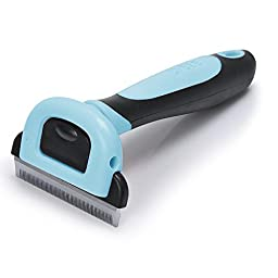 [2-inch]CELEMOON Pet Grooming Brush Deshedding Tool with 2-inch Wide Stainless Steel Safety Blade Especially for Small and Medium Dogs / Cats with Short to Long Hair, Blue