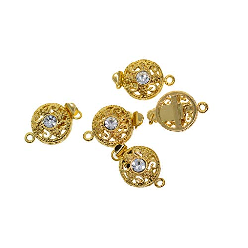 CUTICATE 5 Pieces Crystal Rhinestone Box Clasps Connectors for Jewelry Making and Repairing Findings DIY Necklaces Bracelets Clasps and Closure - Golden