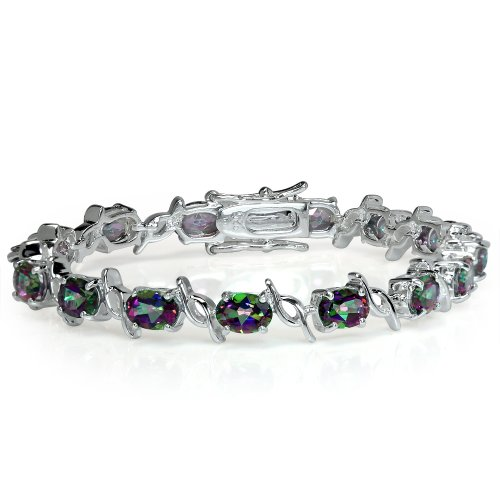 14.25ct. Mystic Fire Topaz White Gold Plated 925 Sterling Silver Tennis Bracelet 6.5 inch