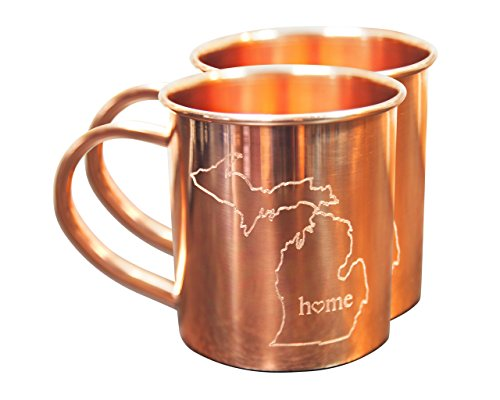 Home State Copper Mugs Set (Michigan) Pack of 2, 14 oz Cups for Moscow Mules - by Alchemade