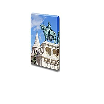 Statue of Saint Stephen I in Front of Fisherman's Bastion at Buda Castle in Budapest Hungary - Canvas Art Wall Art - 24