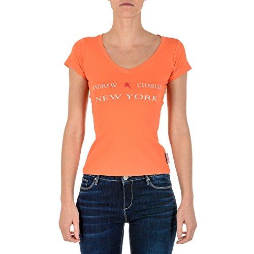Price comparison product image Andrew Charles Womens T-Shirt Short Sleeves V-Neck Orange TAPIWA