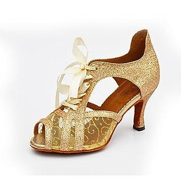 Silencio @ de las mujeres zapatos de baile Latina de purpurina brillante