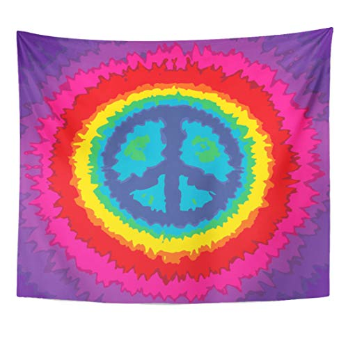 Semtomn Tapestry Vintage Colorful Woodstock Peace Sign Mandala Hippie Orange Groovy Home Decor Wall Hanging for Living Room Bedroom Dorm 60x80 Inches