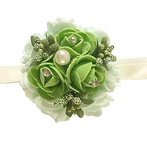 Bridesmaid Sisters Wrist Corsage Rose Flower Ribbon Rhinestone Wedding Supplies Ameesi 92