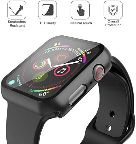 Misxi Black Hard Case Compatible with Apple Watch Series 5 Series 4 44mm with Screen Protector, Hard PC Case Slim Tempered Glass Screen Protector Overall Protective Cover for iwatch Series 5/4 3