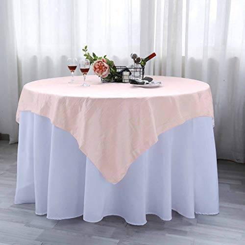 Efavormart Blush Taffeta Crinkle Square Tablecloth Overlay 72