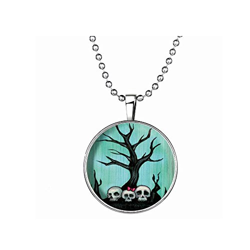 [The November Nocturne Man-eating Trees Skulls Luminous Halloween Pendant Hip Hop Necklace] (Homemade Punk Rock Costumes)