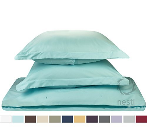 Duvet Cover for a Duvet Insert Comforter, Queen Size, Aqua Light Blue Solid Color, 100% Double Brushed Microfiber Fabric 1800 Series Luxury Bedding Collection, Hypoallergenic, Most Cozy Comfortable Bedroom Set on Amazon, Basic 3-Piece Set Includes Silky Soft Duvet Cover with Pillow Shams, Supreme Quality Bed Linen Sale by Nestl Bedding