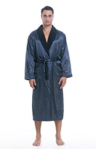 Lavenderi Men's Polyester Satin Polar Fleece Bathrobe Robe (Small, Navy Print)