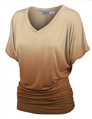 WT1115 Womens V Neck Short Sleeve Dip Dye Dolman Top with Side Shirring XL BROWN