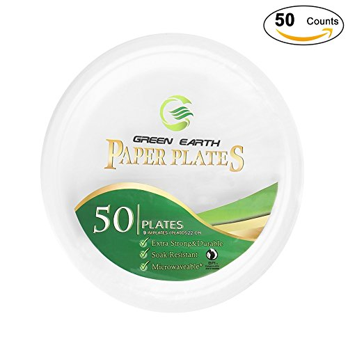 Green Earth Natural Bagasse (Sugarcane Fiber)9 inches(22cm) Round Everyday Paper Plates.Eco-Friendly Party/Wedding Dinner/ Outdoor Heavy Duty Plates(50 Counts Disposable Plates)