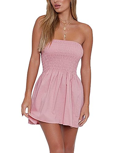 just quella Women's Summer Cover Up Strapless Dresses Solid Tube Top Beach Mini Dress (S, Pink)