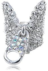 Silver Tone Aurora Borealis Rhinestone Fashion Zipper w Pull Tab Statement Ring