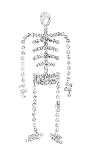 Swinging Skeleton Rhinestone Brooch Pin for Halloween with Clear Crystals