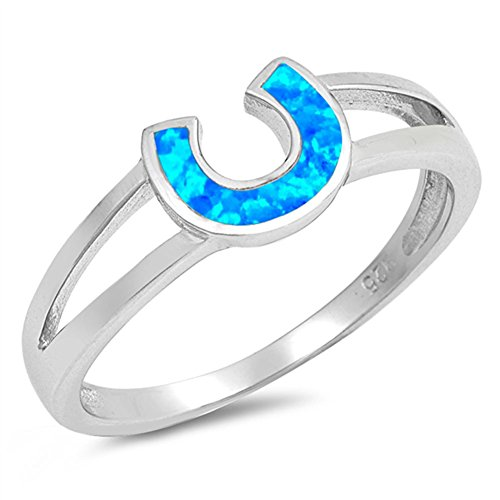 - Blue Simulated Opal Horseshoe Lucky Charm Ring .925 Sterling Silver Band Size 8