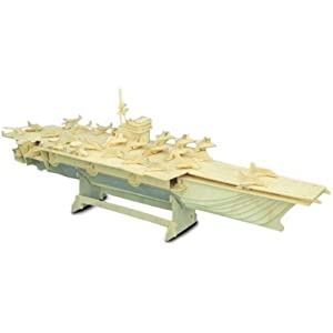 Woodcraft Construction Kit Fsc Aircraft Carrier Wooden Model Game Building Toy by Quay