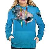 GULTMEE Women's Hoodie,Giant Whale Shark and Underwater Photographer in Wildlife Diving Image,Lady Sweatshirt,XXL
